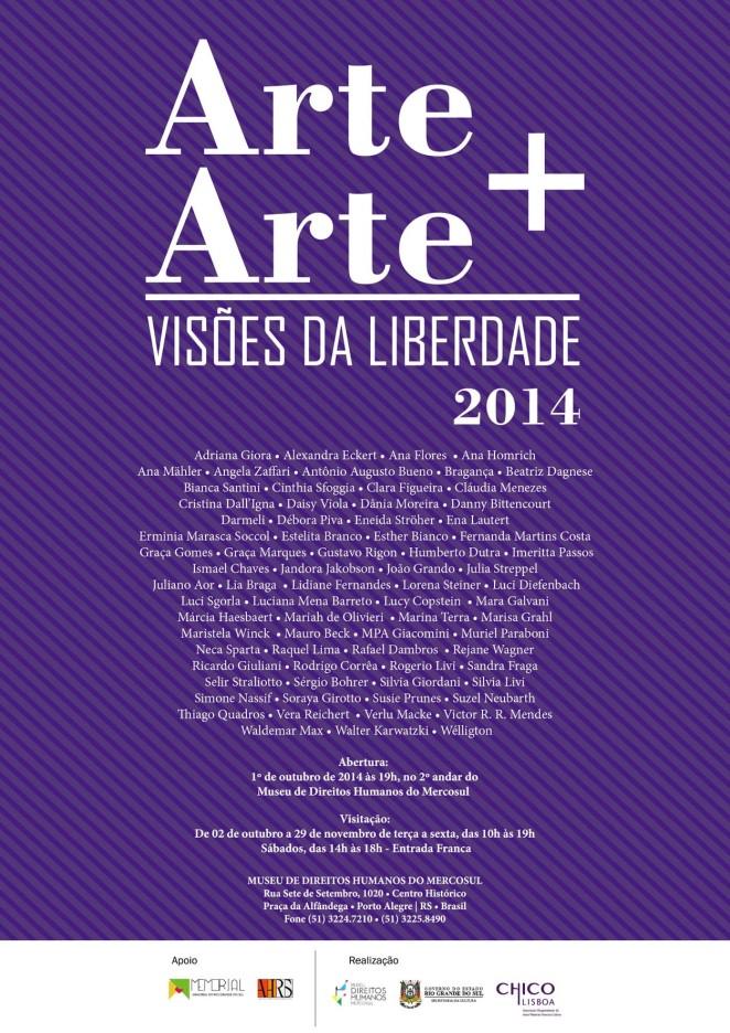 Convite Arte + Arte Visões da Liberdade  2014, abertura 01 out 2014, 19h.